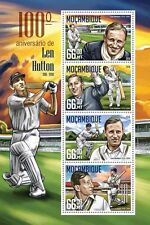 Mozambique 2016 MNH Len Hutton 100th Birth Anniv 4v M/S Cricket Sports Stamps