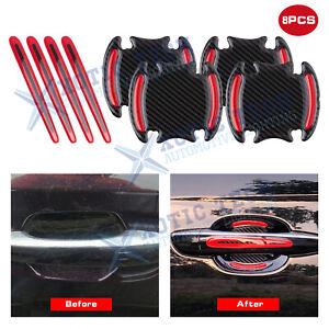 Carbon Fiber Pattern Reflective Car Door Handle Guard Film Sticker Strip Scratch