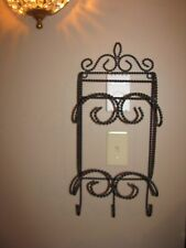 Towel Rack, Magazine Rack, Twisted Wrought Iron Style, Black