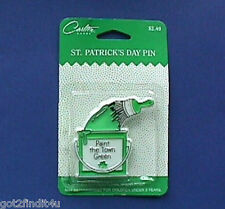 BUY1&GET1@50%~Carlton PIN St Patrick MOC PAINT TOWN GREEN Vtg Irish Holiday