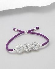 With Sparkling Crystal Spheres Adjustable Purple Stretch Bracelet