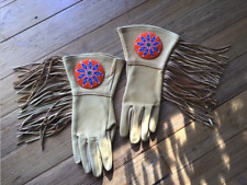 Museum Quality Native American Beaded Leather Gloves - Size 7.5