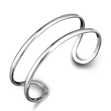 Fashion Unisex 925 Sterling Silver Plated Double Open Cuff Bangle Bracelet Gift