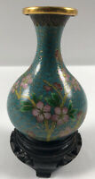 "Vintage 4.5"" Chinese Cloisonne VASE  Flowers On Blue Background! With Wood Stand"