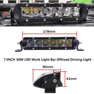 "1PC 7""30W LED Car Work Light Bar Slim Spot Driving Fog Light Single Row Off Road"