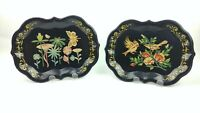 2 Vtg Hand Painted Metal Toleware Trays Black Scalloped Rim Floral Birds Small