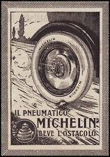PUBBLICITA' 1919 MICHELIN PNEUMATICI BIBENDUM GOMME RUOTE AUTO PNEU OSTACOLO