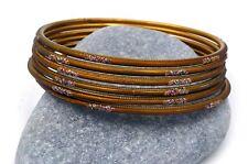 6 bracelets bangles marron strass paillettes Bollywood danse orientale sari Inde