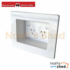 Recessed Wall Box Plate White + SPM Double GPO Power Point Outlet TV LCD LED