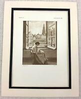 1927 Antique Print The Cathedral of Antwerp Henri de Braekeleer Painting Art