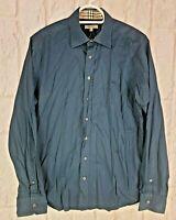Burberry Brit Nova Check Detail Shirt Mens Size L Large Long Sleeve Navy Blue