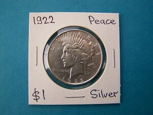 US COINS 1922 YEAR PEACE SILVER DOLLAR, NICE SILVER COIN.