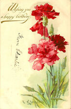 FLOWERS :  Wishing you a happy birthday -embossed undivided back-C.KLEIN