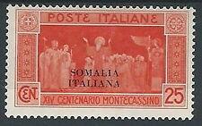 1929 SOMALIA MONTECASSINO 25 CENT MH * - G121