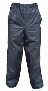 Unisex Black Polyester Goretex Waterproof Overtrousers Walking Hiking