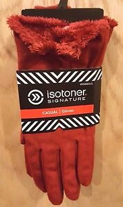 Isotoner Signature Red Micro Suede Gloves w/Silky Micro-Luxe Lining, XL - $40