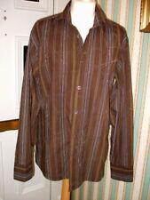 "Burton L/Sleeve Brown striped & faint patterned Shirt Size M 38-41"""