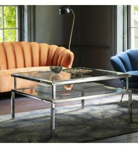 Coffee Table Silver in chrome frame and glass top square glass coffee table