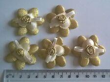 5 X GRANDI ORO nastro e Fiore Rosa abbellimenti-Craft wedding bunting Sew
