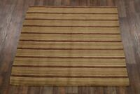 "New Striped Hand-Tufted Square Modern 7x7 Gabbeh Oriental Area Rug 6' 6"" x 6' 6"""