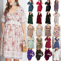 Plus Size Women Floral Vneck Short Sleeve Mini Dress Summer Holiday Casual Party