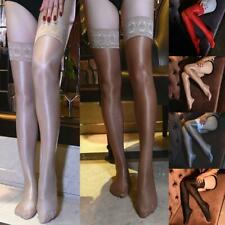 Ladies 70D Super Shiny Hold Up Thigh High Stockings Nylon Hosiery Dance Clubwear