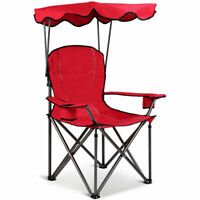 Outdoor Portable Folding Beach Canopy Chair W/Cup Holders Bag Camping Hiking