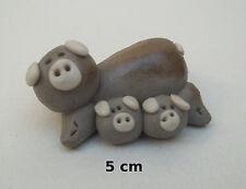 cochonne rigolotte avec bébés, terre cuite, collection, pig, varken B1-04