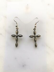 Cross Crucifix Earrings Women Drop Hook