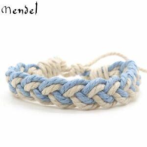 MENDEL Mens Bohemian Tribal Hand Braided Rope Bracelet Men Women Cuff Wristband