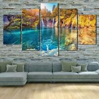 Waterfall Paradise Nature Trek 5 pcs HD Art Poster Wall Home Decor Canvas Print