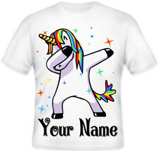 GIRLS KIDS BOYS Personalised Dabbing Unicorn Character T shirt Great ift Idea!