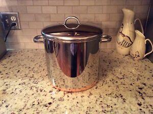 Vintage Revere Ware Copper Bottom 12 QT Stock Pot