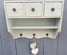 SHABBY CHIC WALL SHELF UNIT CABINET HOOKS DRAWERS STORAGE DISPLAY HOME DECOR