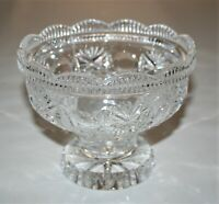 Clear Pressed Glass Crystal Bowl Open Candy Dish with Pedestal