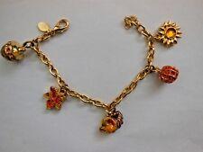 Christopher Radko Enamel & Crystal Autumn Fall Charm Bracelet Acorn Pumpkin Leaf