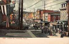 Pottsville Pennsylvania Centre Street Parade Scene Antique Postcard J44450