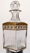 St Louis, Callot, Flacon, Carafe à Whisky En Cristal Taillé Et Doré
