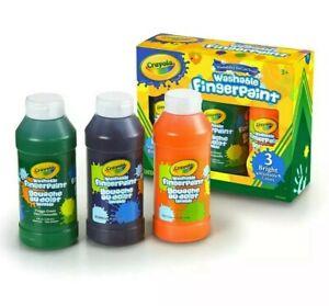 Crayola Washable Finger Paints Kids (3 Pack) 8 oz Bottles Orange, Green, Purple
