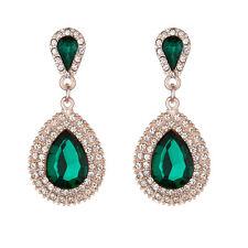 Fashion Women Long Teardrop Drop Rhinestone Crystal Dangle Stud Earrings Jewelry