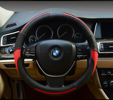 Universal Genuine Leather Sport Breathable Car Steering Wheel Cover 38CM Red