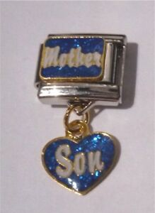 9mm Italian Charm D28 Mother Son Dangle  Fits Classic Size Bracelet