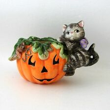 Fitz Floyd Black Cat Pumpkin Jack O Lantern Essentials Candle Holder