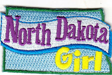"""""""NORTH DAKOTA GIRL""""- Iron On Embroidered Patch/ State Shape/Words,Names,Saying"""