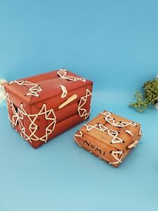 Numi Tea Wood Boxes Empty Bamboo Decor Containers Small and Smaller