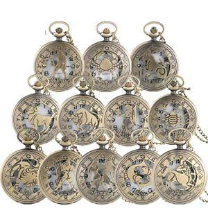 Pocket Watch With Chain Zodiac Pattern Constellation Quartz Vintage Retro Gift