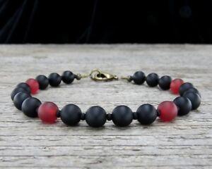 Unisex Matte Black Onyx Bracelet with Carnelian