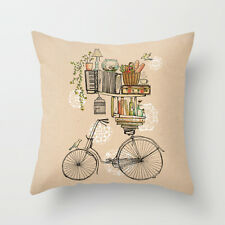 Cushion Pillow Case Vintage Style Bikes& Books  18'*18' home decoration