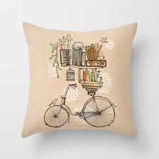 Cuscino federa Stile Vintage Bici & LIBRI 18' * 18' Home Decoration