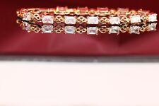 "18K Diamond Cuts Texture Yellow Gold Finish ID Ladies  Bracelet 7.25"""
